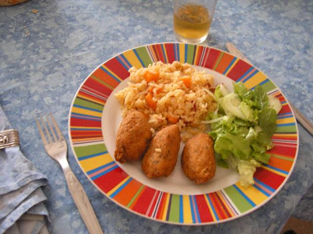 Codfish fritters with carrots rice